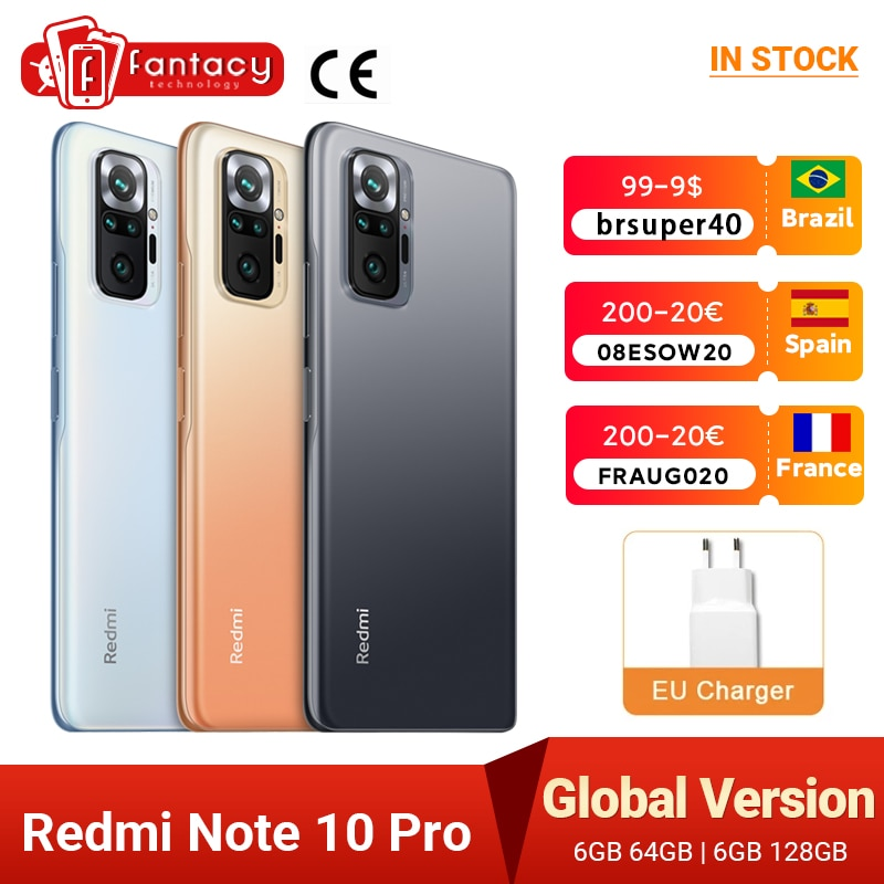 "Global Version Xiaomi Redmi Note 10 Pro Smartphone Snapdragon 732G 108MP Quad Camera 120Hz NFC Cellphone 6.67"" AMOLED DotDisplay"