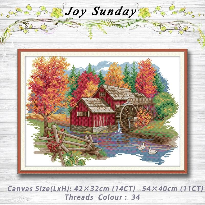 Mill Forest House paisaje decoración pintura 14CT 11CT contado punto de cruz kits juegos de bordado juegos de costura decoración del hogar