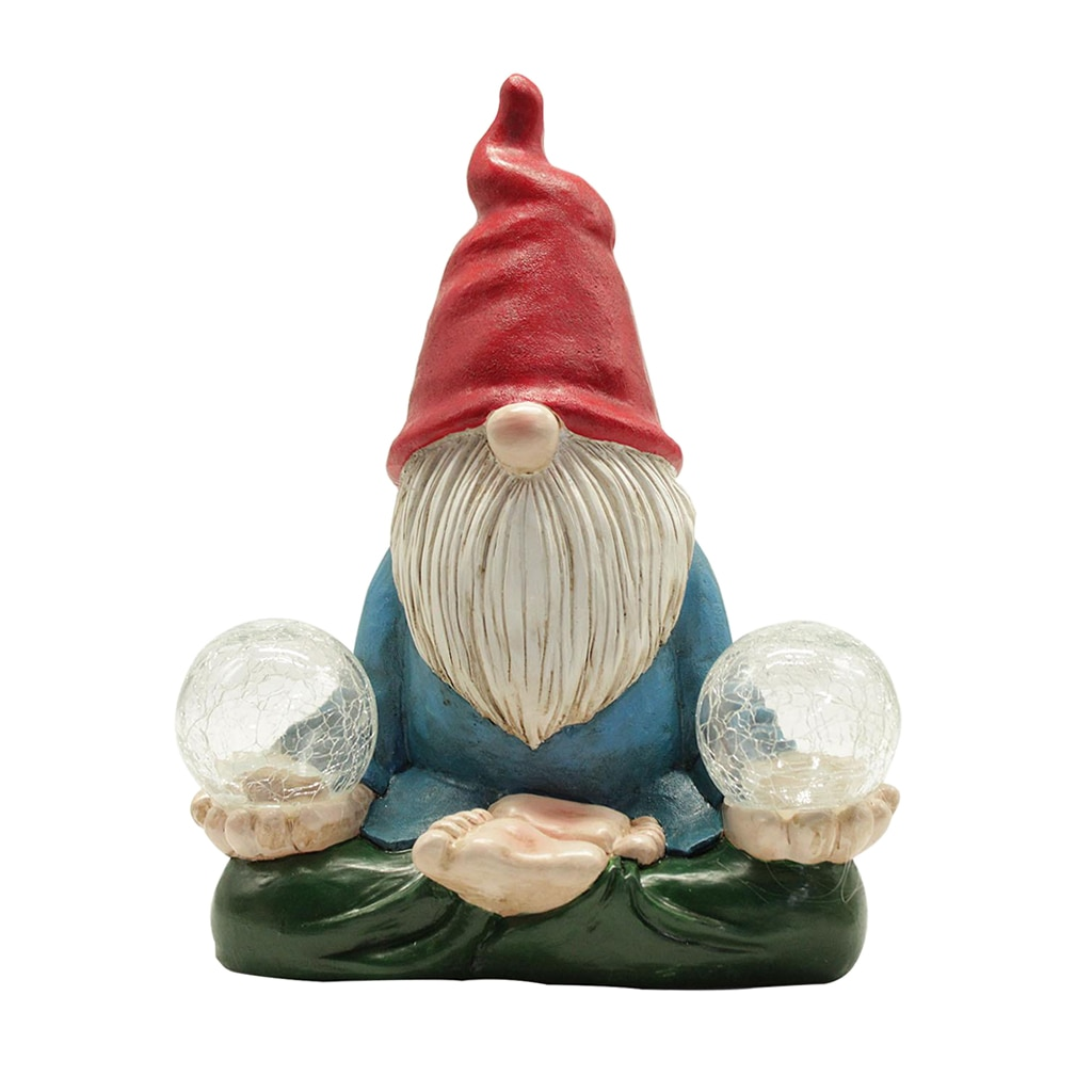Gnome Figurine Carrying Orb with Solar LED Lights for Yard Outdoor  - buy with discount