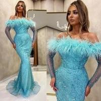 2020 blue off shoulder beading mermaid evening dresses feather arabian robe illusion long sleeve prom gowns %d0%b2%d0%b5%d1%87%d0%b5%d1%80%d0%bd%d0%b8%d0%b5 %d0%bf%d0%bb%d0%b0%d1%82%d1%8c%d1%8f