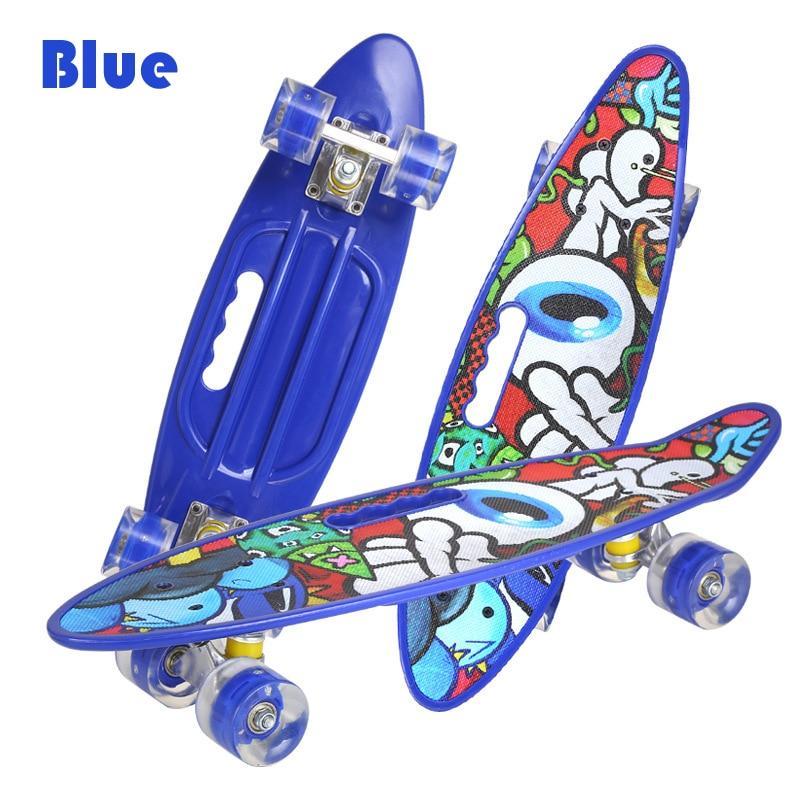 23in Single Rocker Fish Skateboard Mini Cruiser Land Surfboard Scooter Anti-slip Swing Board Penny Banana Aluminum Truck Bearing