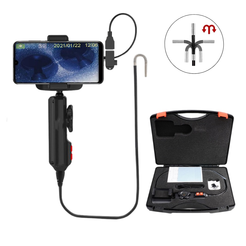 Handheld Industrial Endoscope Camera Photo Taking Video Recording Steerable Borescope with 6mm Lens 1m Snake Tube 2 in 1 Adapter