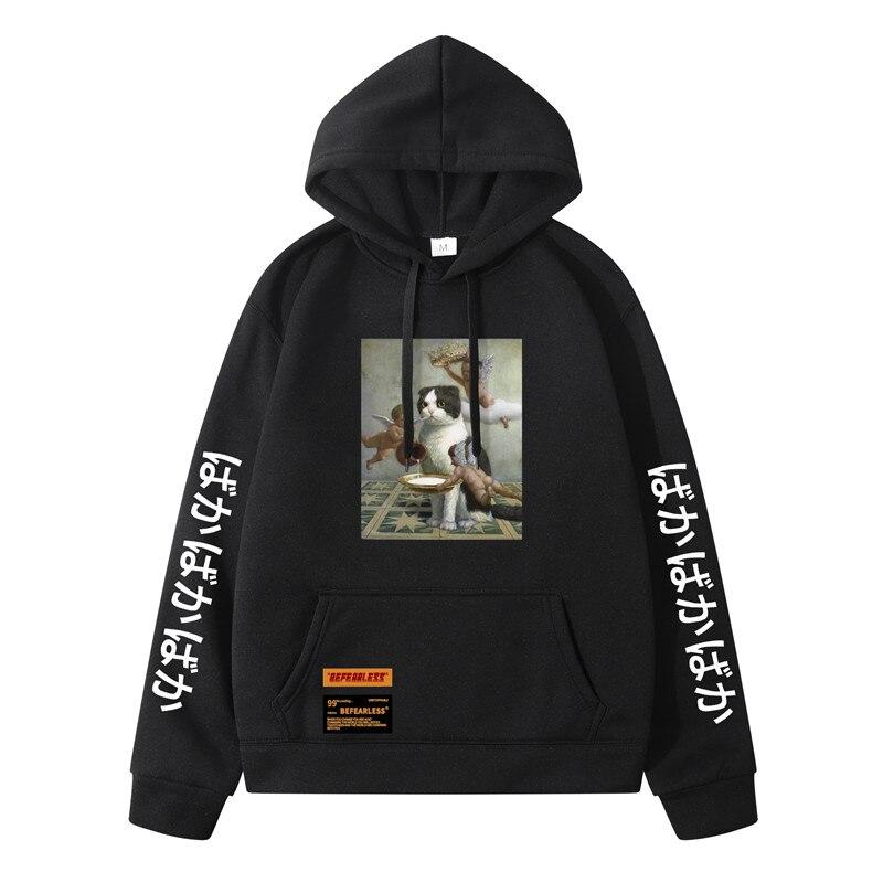 Men Hip Hop Hoodie Sweatshirt Angel Cat Print 2020 Harajuku Streetwear Funny Hoodies Pullover Cotton Autumn Hooded Sweatshirts sad tearing frog print basic hoodies women hooded sweatshirts harajuku hip hop hoodies sweatshirt japanese streetwear hoodie