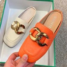 2021 Summer Women Slippers Mullers Ladies Flats Half Slippers Plus Szie Flop Elegant Shoes Women San
