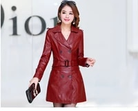 autumn and winter new womens wear leather clothes womens middle and long coat large double breasted thickened