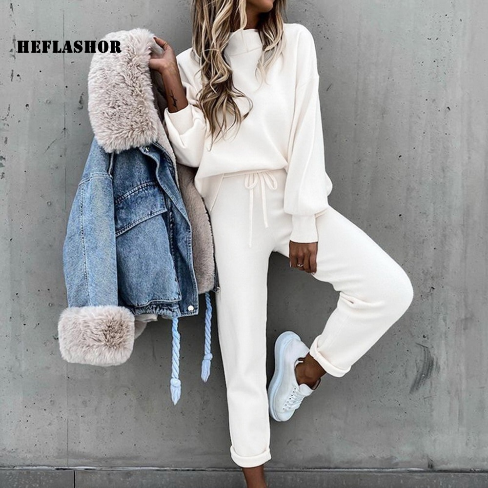 HEFLASHOR Fashion Tracksuit 2 Piece Set Autumn Winter Pullover Hoodie + Long Pants Sports Suit Female Sweatshirt Sportswear Suit