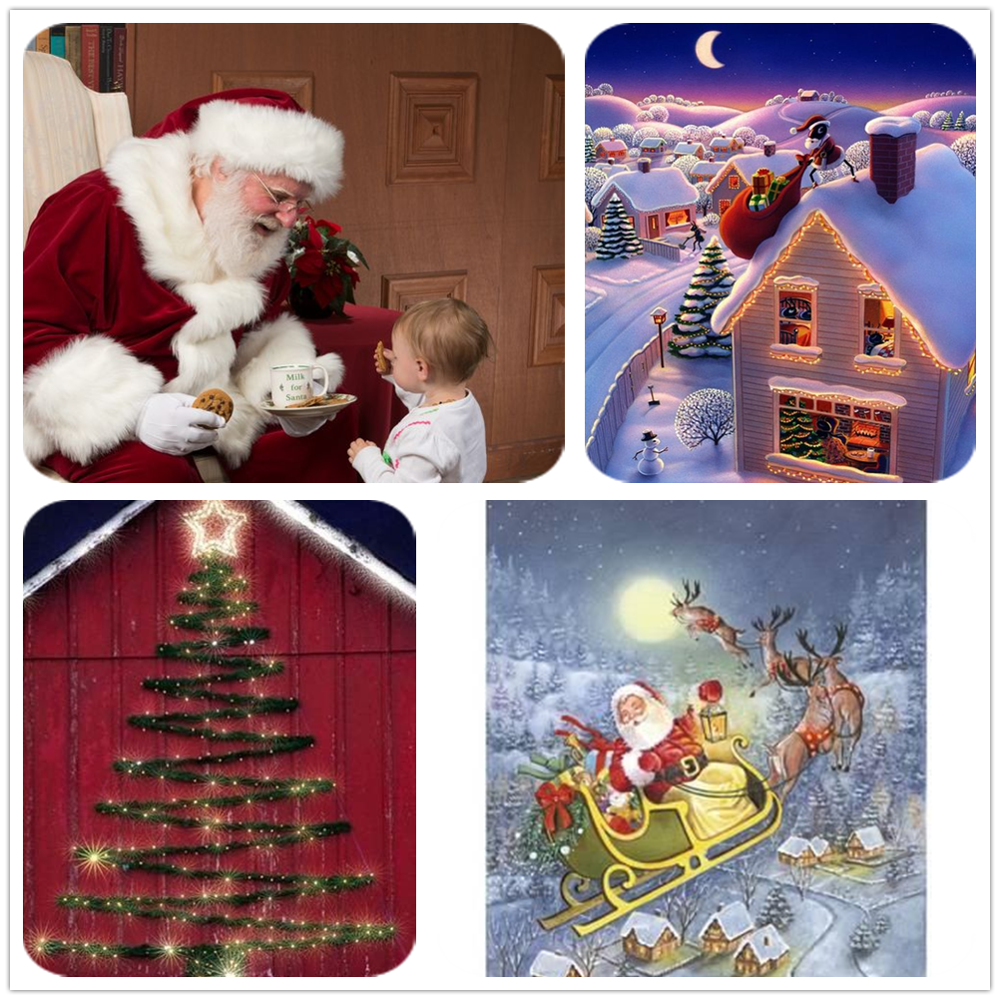 Full Square / Round Drill 5D Diy Diamond Painting Christmas Santa Claus 3D Diamond Embroidery Cross Stitch Decoration Home Lx718