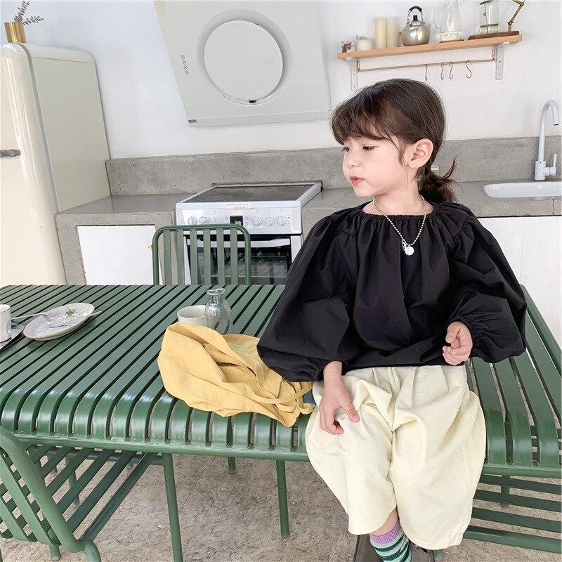 Fille ample manches bouffantes haut Capri-pantalon printemps et été nouveaux vêtements pour enfants