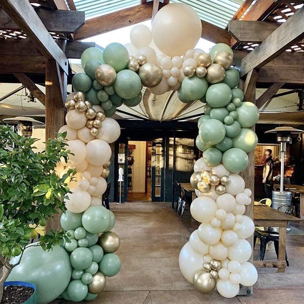 DIY Balloon Arch Kit Retro Olive Green Balloon Garland Kit-154pcs Sage Green, Ivory White and Metallic Chrome Gold Balloons
