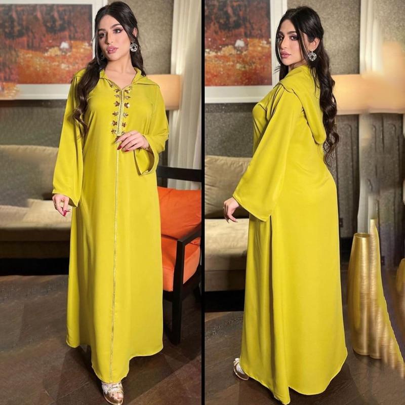 Dubai Turkey Eid Mubarak Abaya Muslim Hooded Dress 2021 Women Diamond Elegant Lady Djellaba Moroccan Caftan Islam Clothing Femme