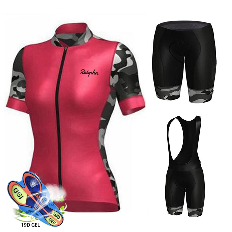 TEAM Skinsuit-Camiseta de Ciclismo profesional para mujer, pantalones cortos de Gel 19D,...