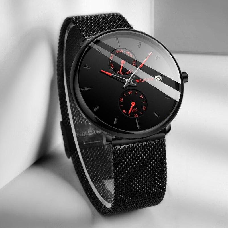 Reloj de pulsera WLISTH de alta marca para hombre, reloj de pulsera de cuarzo con fecha de lujo de acero inoxidable, estuche delgado, relojes resistentes al agua para la vida, reloj Masculino