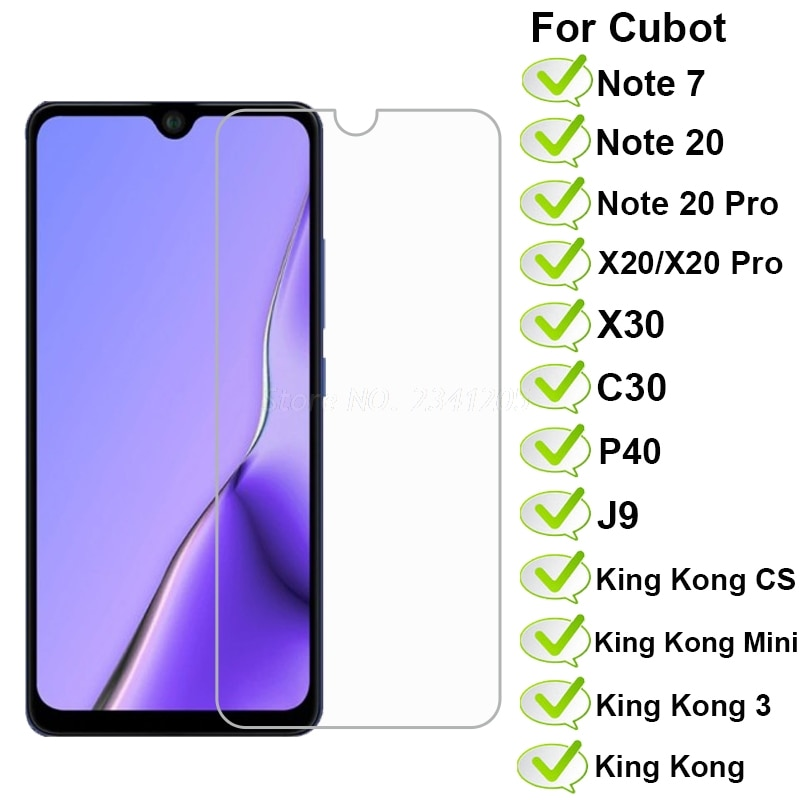 2-1PC Cubot Note 7 20 Pro Glass for Cubot X30 X20Pro P40 J9 Tempered Glass Protector on Cubot King Kong 3 Mini CS Quest Pelicula