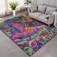psychedelic mushroom carpet mat for living room doormat flannel print bedroom non slip floor rug