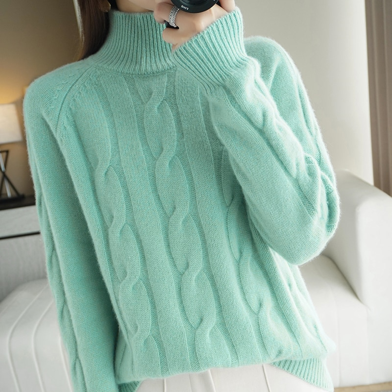2021 New Winter Sweaters Women England Office Lady Fashion Vintage Twisted flower Loose Turtleneck Sweaters Women Pullovers Tops enlarge
