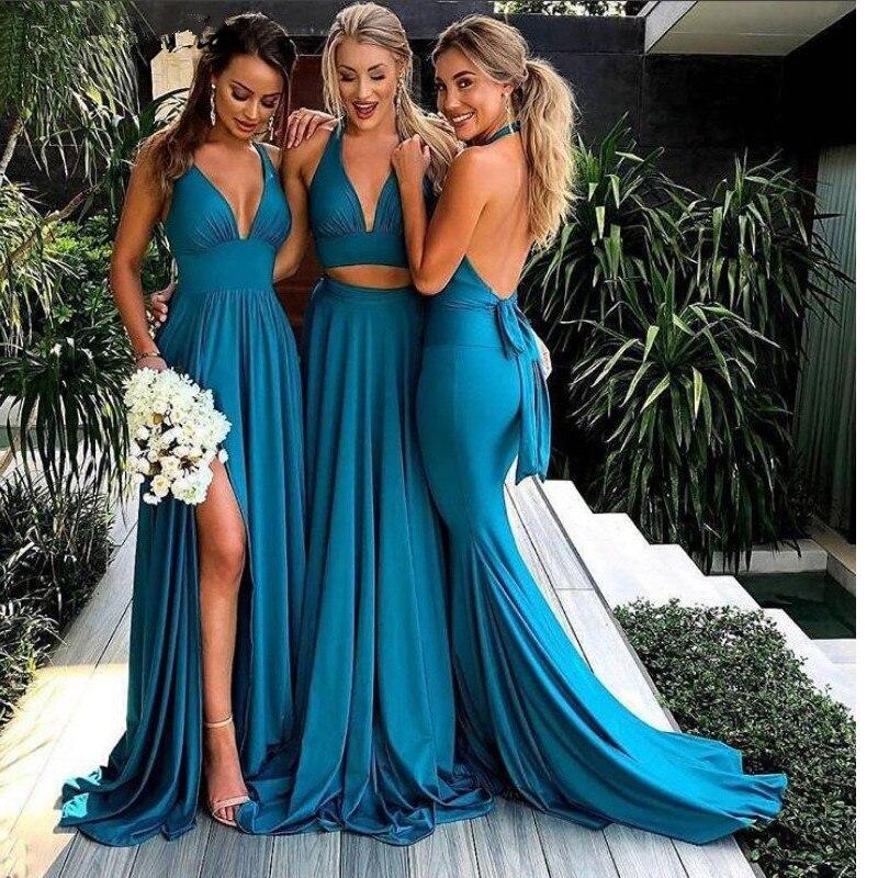 Vestidos de dama de honor de línea a con abertura lateral azul turquesa, vestidos largos sexis de fiesta de boda con espalda al aire
