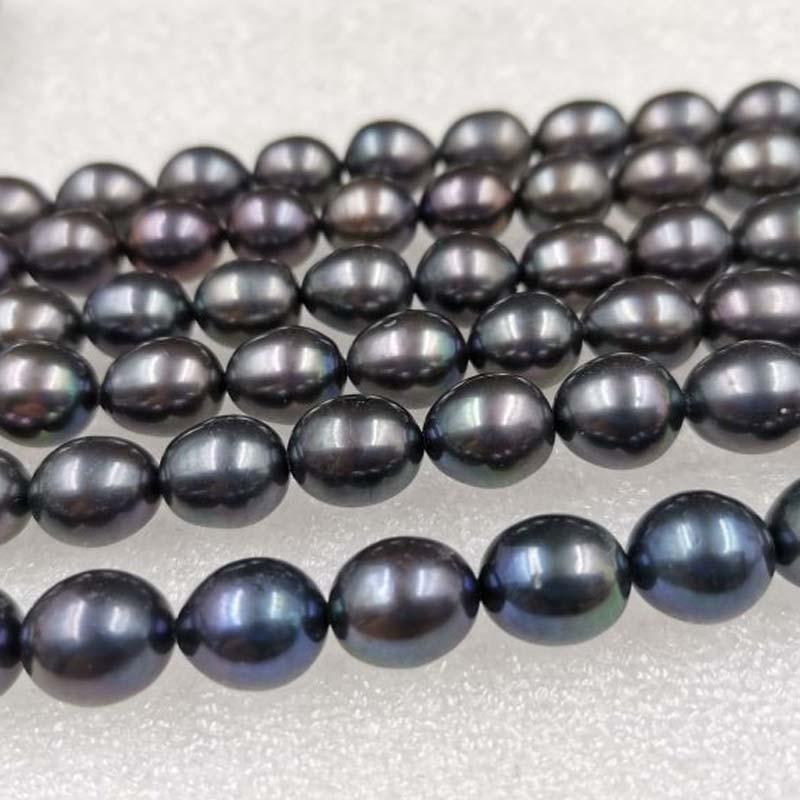 AAA al por mayor 5 hebras 10mm arroz negro agua dulce cultivada perlas sueltas cuentas
