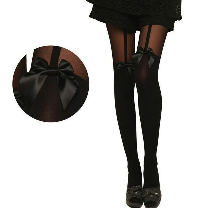 Calcetas para mujer, collant femme, lencería Sexy con lazo, ligas, pantimedias para dama, liguero, muslo alto, rajstopy damskie
