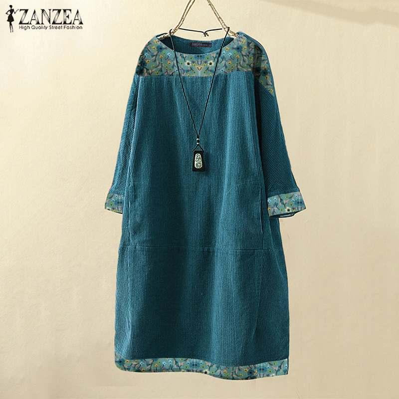 Vestido de pana de otoño Vintage ZANZEA las mujeres Floral impreso de manga larga Casual suelta tapas largas Blusas Vestido hasta la rodilla