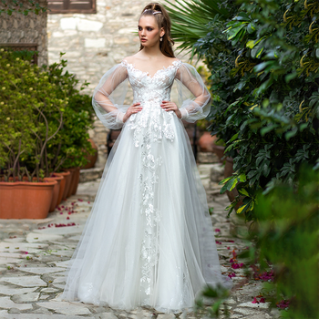 Off Shoulder Long Puffy Sleeves Ruched Bridal Gowns Custom Made Lace Sparkly Tulle A Line Pearls Big Size Pleated Wedding Dress