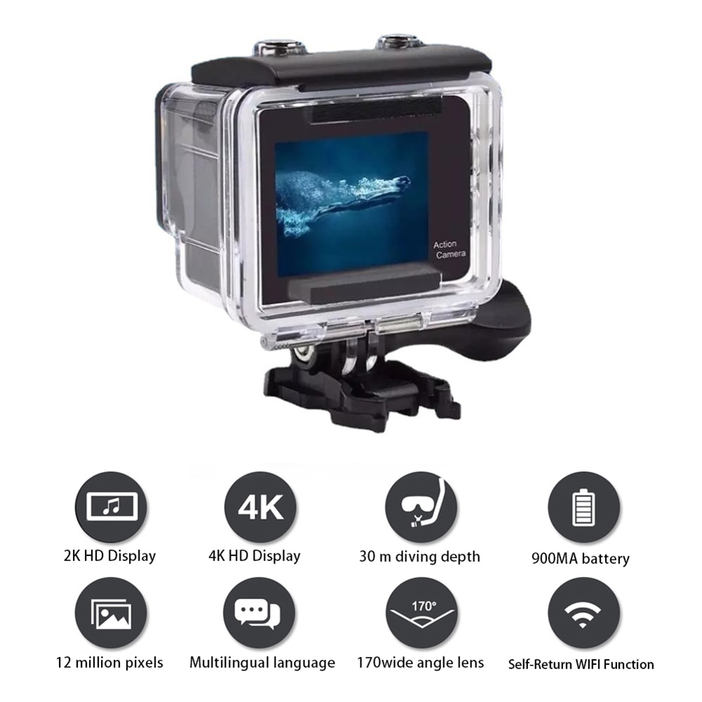 4K Ultra HD Action Camera Dual LCD Screen WiFi 12MP 170D Go Waterproof Pro Sport DV Helmet Video Camera With 2.4G Remote Control enlarge