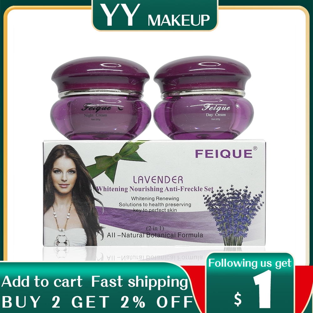 New Arrival FEIQUE lavender whitneing nourishing anti freckle facial cream 20g+20g facial cream 12sets/lot face care
