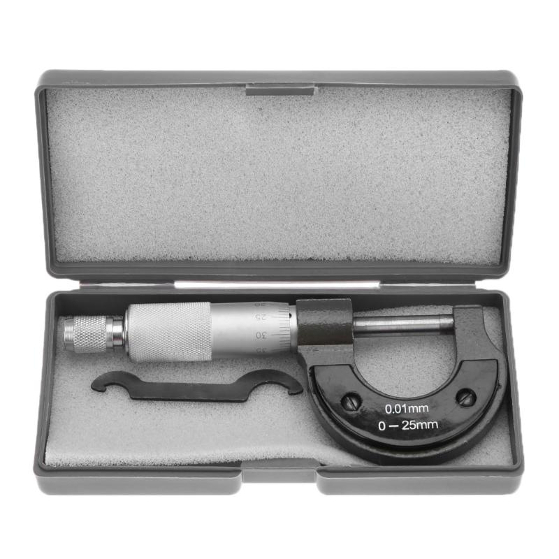 Micrômetro exterior 0-25mm/0.01mm calibre vernier caliper medidor micrômetro ferramentas de medida de aço carbono