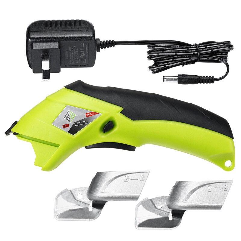 110 فولت-220 فولت اللاسلكي قابلة للشحن مقص كهربائي الحرف النسيج والجلود القماش الخياطة قطع سكين أداة مع 2 قطع رئيس