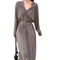 fashion womens clothing solid color long sleeve v neck casual simplicity knit dress dresses for women vestido feminino