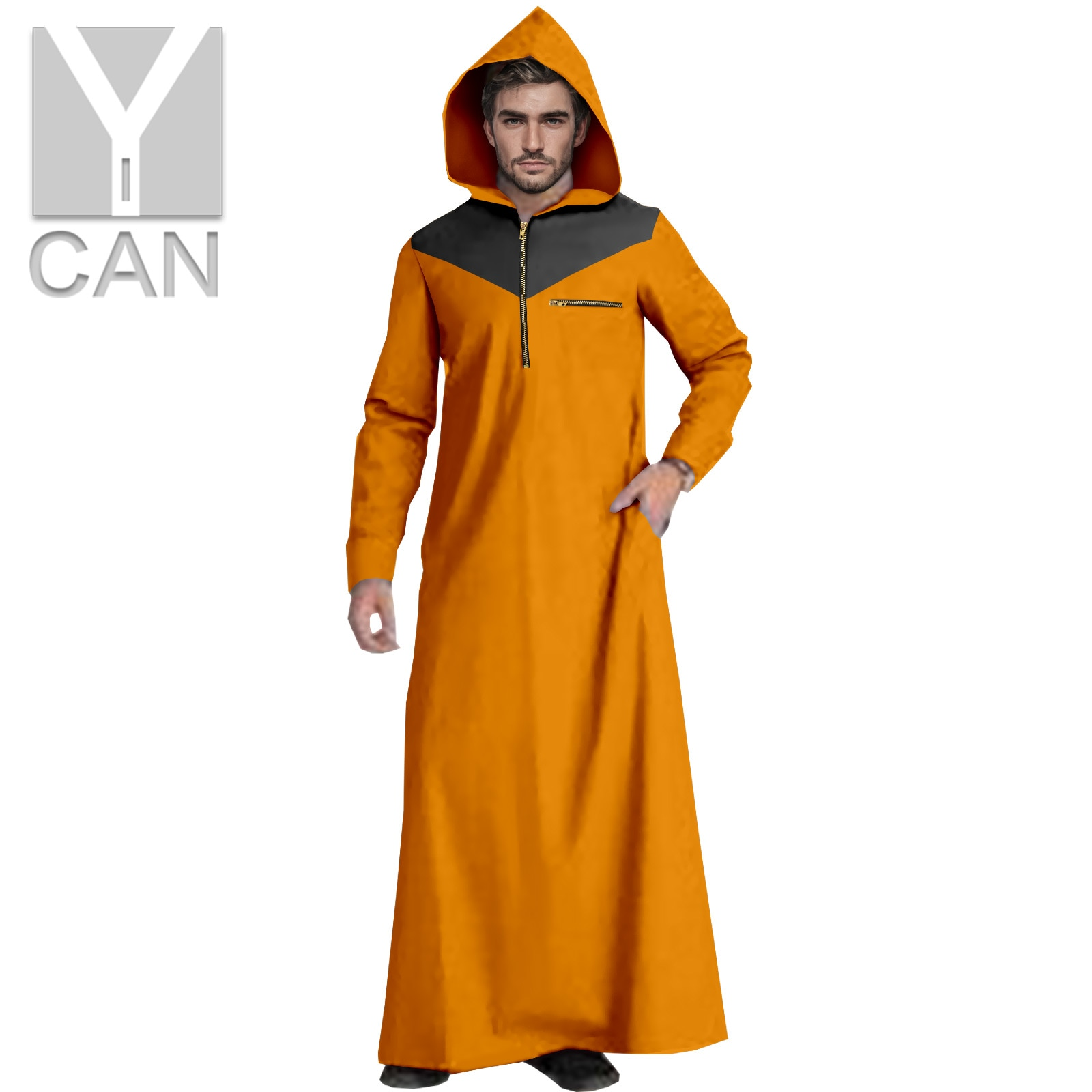 Y-CAN Men's Muslim Fashion Jubba Thobe With Long Sleeves Plus Size Islamic Hooded Clothing Muslim Texture Hemming Robe Y211002
