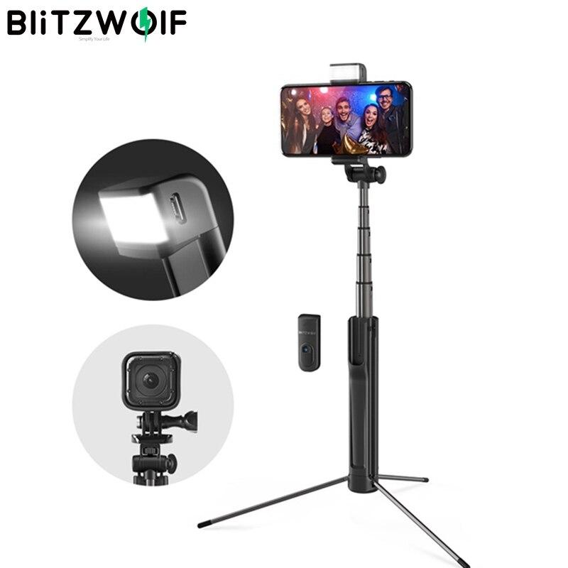 Blitzwolf-3 في 1 مصباح حشو LED ، بلوتوث ، لاسلكي ، عصا سيلفي ، حامل ثلاثي القوائم قابل للتمديد ، Monopod لهاتف iPhone Huawei 1/4 ، برغي كاميرا