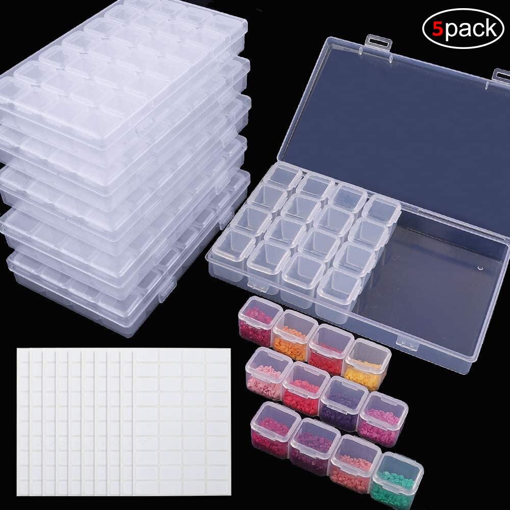 5 paquete de 28 redes pintura diamante cajas diamante del bordado de cajas de almacenamiento con 400 Etiqueta de pcs pegatinas de uñas diamantes blanco