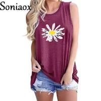 summer womens daisy printed t shirts cotton linen v neck thin short vest tee top sleeveless breathable soft woman t shirt 2021