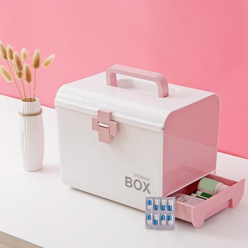 صندوق تخزين الإسعافات الأولية متعدد الطبقات ، صندوق الأدوية ، أطقم طبية محمولة ، درج بلاستيكي PP ، صندوق تخزين الأدوية ، صندوق المنزل