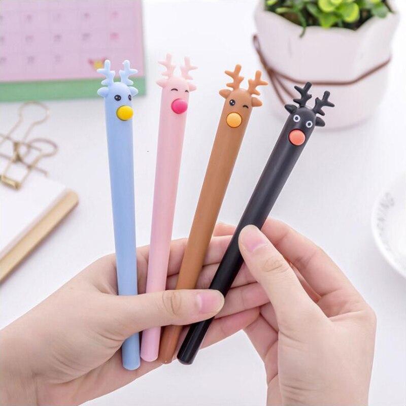 Bolígrafo de Gel con forma de ciervo de dibujos animados tinta negra y azul 0,5mm papelería de oficina suministros escolares pluma de Color 1 Uds