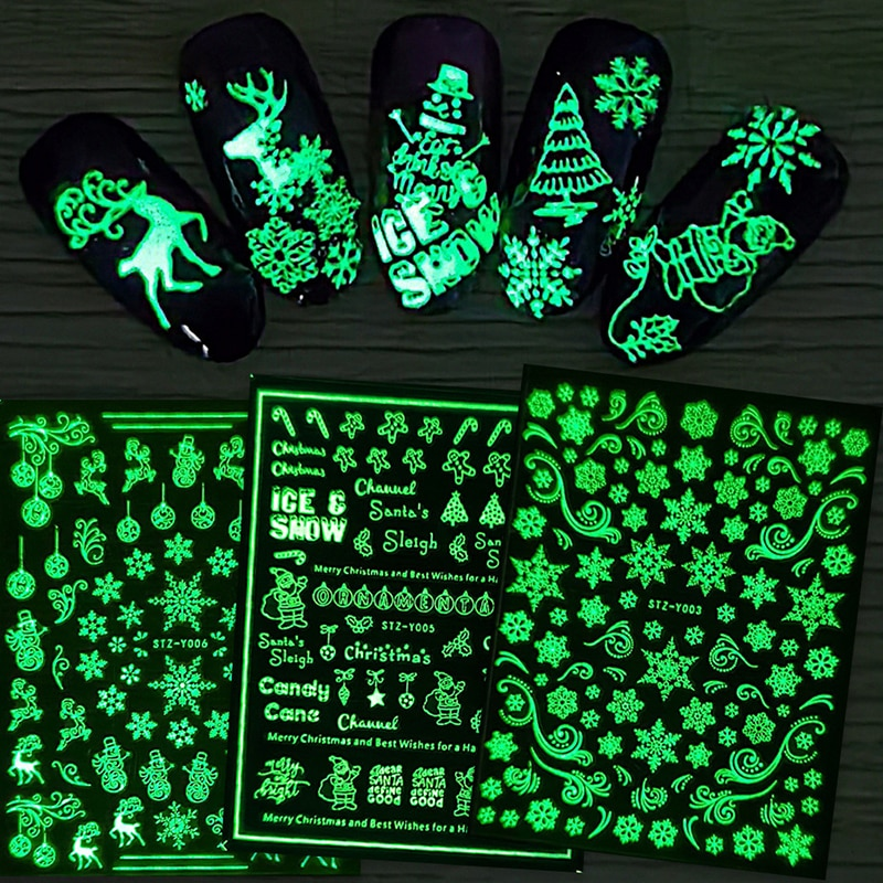 Luminous Effect 3D Christmas Snow Nail Sticker Glitter Nail Art Decoration Stickers Manicures Tips Tool Nail Design Accessories