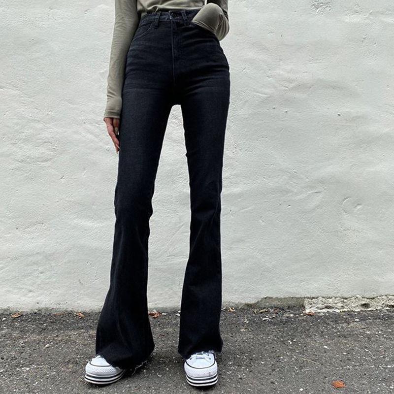 Женские расклешенные джинсы High Street, широкие брюки с высокой талией, женские черные облегающие повседневные винтажные джинсы, узкие джинсов...