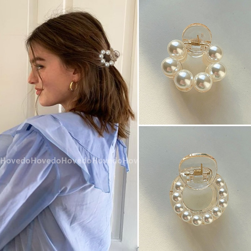 aliexpress - Sweet Mini Round Pearl Hair Clips for Women Girls Hair Claw Chic Barrettes Claw Crab Hairpins Styling Fashion Hair Accessories