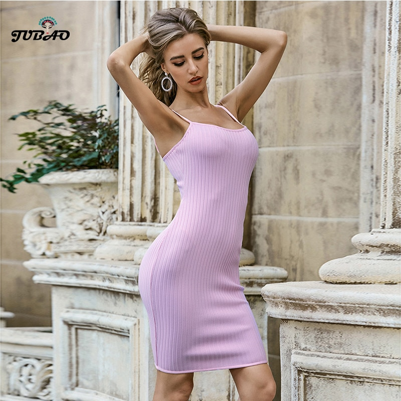 Vestido de fiesta de punto mini Bodycon going out vestido de mujer púrpura Correa espagueti fecha Club Vestidos cortos para fiesta elegante