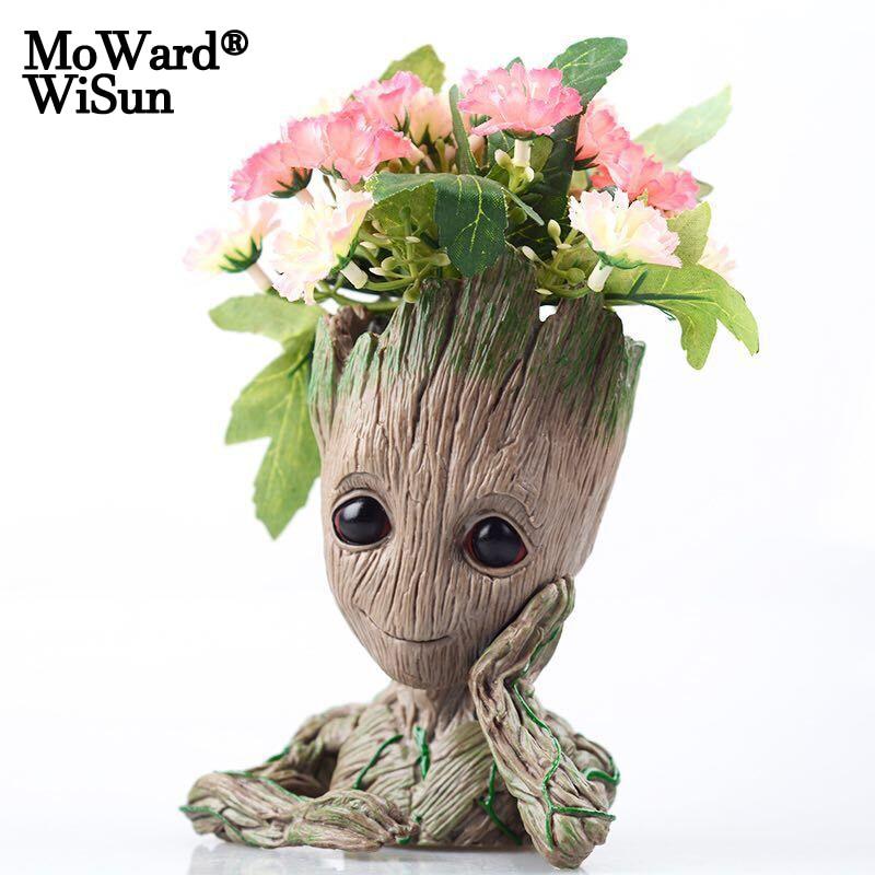 Moward Groot Wisun Tree Man Baby Anime Action Figure Dolls Penholder Guardians of The Galaxy 6 Model Hero Pen Pot Flower Pot Toy