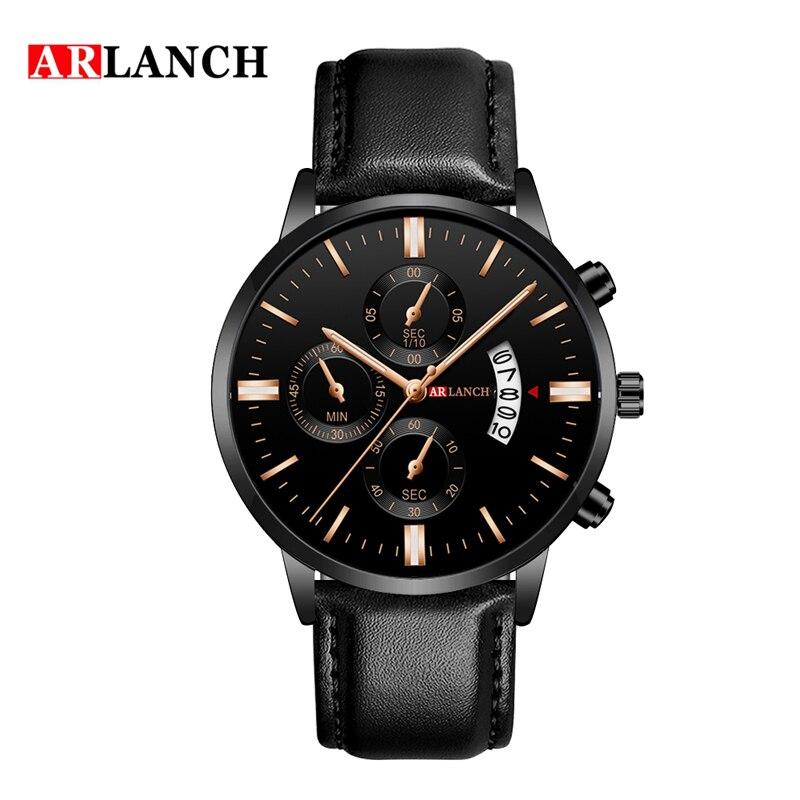 Relojes de marca de lujo superior para hombre, reloj informal de negocios, correa de acero y cuero, reloj de pulsera de cuarzo, reloj Calendario, reloj Masculino