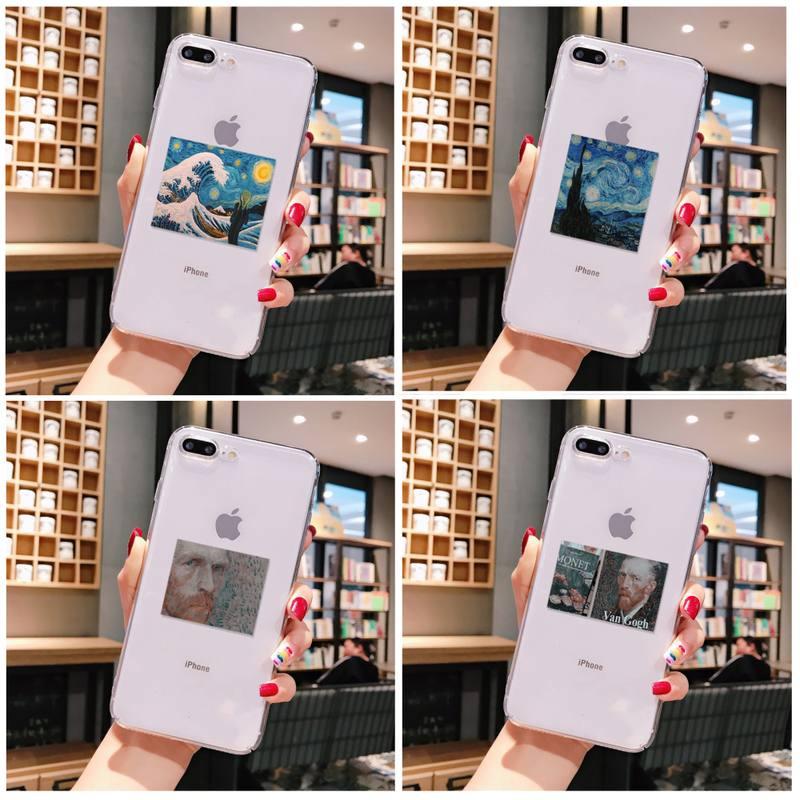 Ästhetische van Gogh Mona Lisa malerei Telefon Fall Für iPhone X XS MAX 6 6s 7 7plus 8 8Plus 5 5S SE 2020 XR 11 11pro max