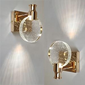 Nordic Minimalist Wall Lamp Creative Bedroom Crystal Personalized Mirror Headlight Makeup Wall Light Fixtures Bathroom K9 Lights