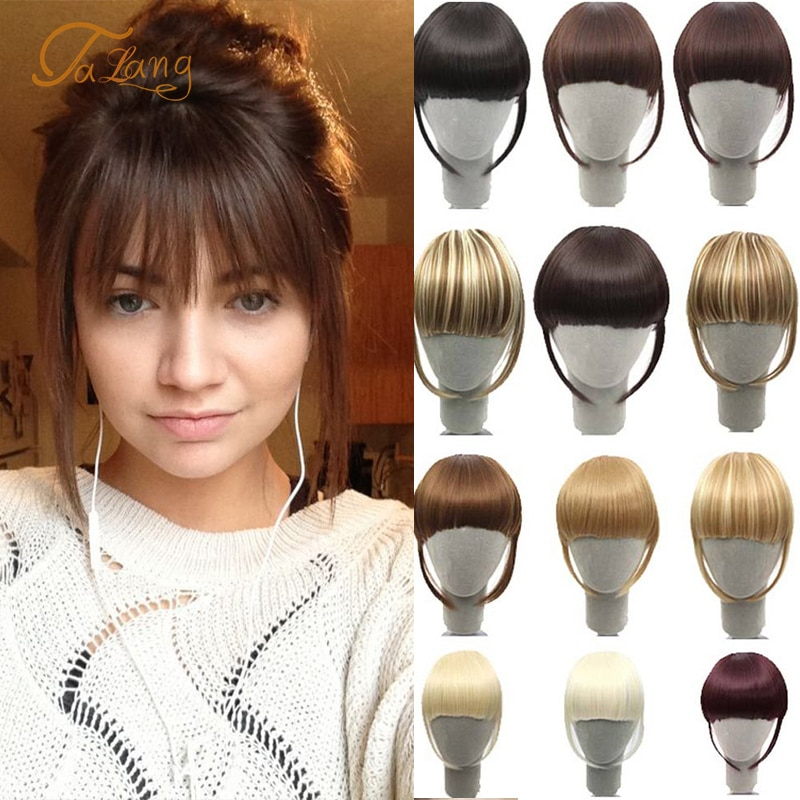 TALANG Neat Front Fringe Clip In Hair Bangs Hair Extensions Sweeping Side Blunt Bang Natural Black Brown Hairpieces
