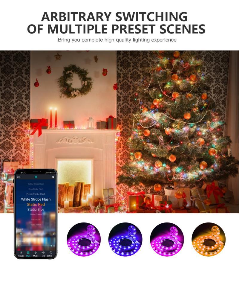 O natal conduziu a luz de tira 5050 impermeável fita conduzida flexível para a decoração de casa controle bluetooth decoração conduziu a iluminação de tira