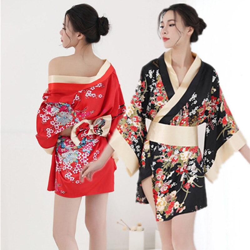 Традиционный бренд, женское японское кимоно, ночное белье, сексуальное глубокое кимоно с v-образным вырезом, атласная Цветочная ночная руба...