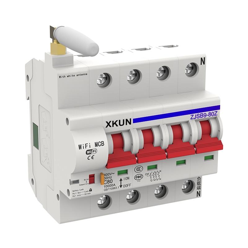 XKUN Wifi circuit breaker eWelink APP 4P 10-80A Smart home intelligent automatic wireless free shipping