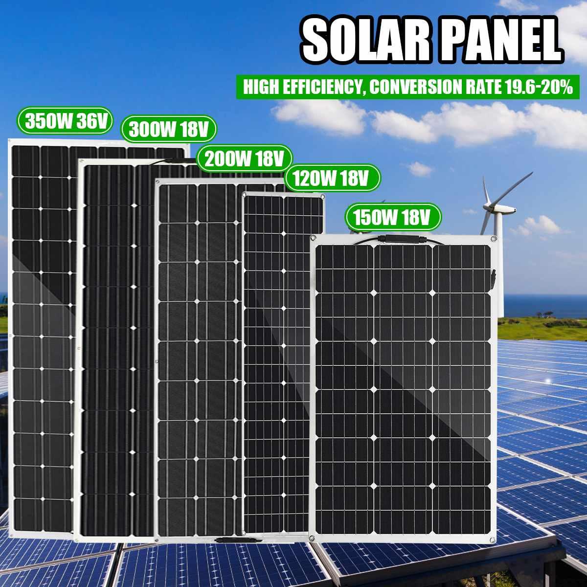 120W/150W/200W/300W Panel Solar semiflexible 18V 36V USB módulo Solar DIY conector al aire libre cargador de batería para barco RV