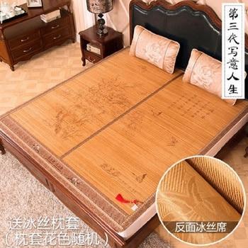 Chinese printing skin-friendly  summer mattress1.5/1.8 bamboo  100% natural bamboo manufacturing natural comfort foldmat