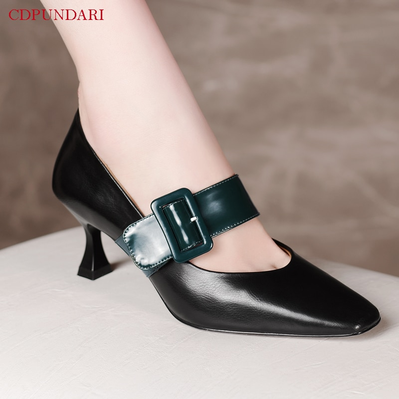 Sexy Black Genuine Leather Mary Janes High Heels Pumps Ladies Spring Summer Wedding Shoes Bride